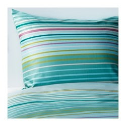 "PALMLILJA duvet cover and pillowcase(s), turquoise Thread count: 207 square inches Duvet cover length: 86 "" Duvet cover width: 86 "" Thread count: 207 square inches Duvet cover length: 218 cm Duvet cover width: 218 cm"