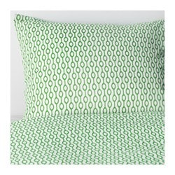 RÖDVED quilt cover and pillowcase, green, white Pillowcase quantity: 1 pack Quilt cover length: 200 cm Quilt cover width: 150 cm
