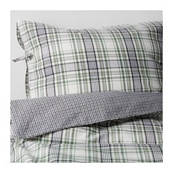 "SNÄRJMÅRA duvet cover and pillowcase(s), green, check Thread count: 152 square inches Duvet cover length: 86 "" Duvet cover width: 86 "" Thread count: 152 square inches Duvet cover length: 218 cm Duvet cover width: 218 cm"