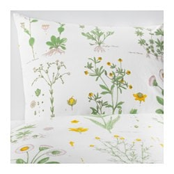 STRANDKRYPA quilt cover and 2 pillowcases, floral patterned, white