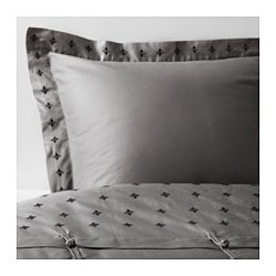 VINRANKA quilt cover and pillowcase, grey Quilt cover length: 200 cm Quilt cover width: 150 cm Pillowcase length: 50 cm
