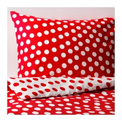 STENKLÖVER quilt cover and pillowcase, red, white Quilt cover length: 200 cm Quilt cover width: 150 cm Pillowcase length: 50 cm