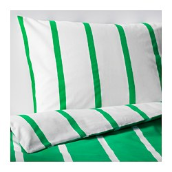 TUVBRÄCKA quilt cover and pillowcase, white, green Quilt cover length: 200 cm Quilt cover width: 150 cm Pillowcase length: 50 cm