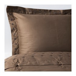 "VINRANKA duvet cover and pillowsham(s), brown Thread count: 310 square inches Duvet cover length: 86 "" Duvet cover width: 86 "" Thread count: 310 square inches Duvet cover length: 218 cm Duvet cover width: 218 cm"