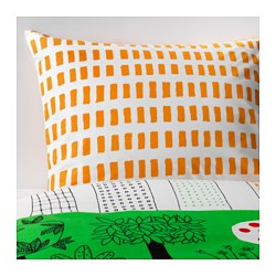 ÖNSKEDRÖM quilt cover and pillowcase, green/white, orange Pillowcase quantity: 1 pack Quilt cover length: 200 cm Quilt cover width: 150 cm