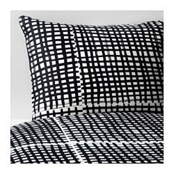 BJÖRNLOKA RUTA quilt cover and 2 pillowcases, black/white Pillowcase quantity: 2 pack Quilt cover length: 200 cm Quilt cover width: 150 cm