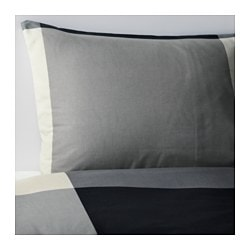 BRUNKRISSLA quilt cover and pillowcase, grey, black Quilt cover length: 200 cm Quilt cover width: 150 cm Pillowcase length: 50 cm