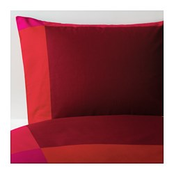 BRUNKRISSLA quilt cover and pillowcase, red Quilt cover length: 200 cm Quilt cover width: 150 cm Pillowcase length: 50 cm