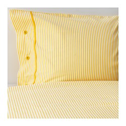 "NYPONROS duvet cover and pillowcase(s), yellow Thread count: 152 square inches Duvet cover length: 86 "" Duvet cover width: 86 "" Thread count: 152 square inches Duvet cover length: 218 cm Duvet cover width: 218 cm"