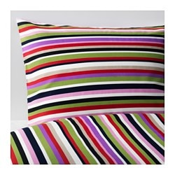 "DVALA duvet cover and pillowcase(s), multicolor, striped Thread count: 144 square inches Duvet cover length: 86 "" Duvet cover width: 86 "" Thread count: 144 square inches Duvet cover length: 218 cm Duvet cover width: 218 cm"