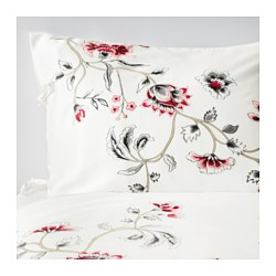RÖDBINKA quilt cover and 2 pillowcases, white, floral patterned