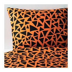 "GULLTRATT duvet cover and pillowcase(s), black, orange Thread count: 144 square inches Pillowcase quantity: 1 pack Duvet cover length: 86 "" Thread count: 144 square inches Pillowcase quantity: 1 pack Duvet cover length: 218 cm"