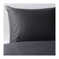 GÄSPA quilt cover and pillowcase, dark grey Quilt cover length: 200 cm Quilt cover width: 150 cm Pillowcase length: 50 cm