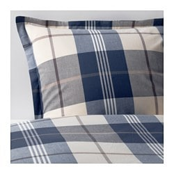 "KUSTRUTA duvet cover and pillowcase(s), blue check Thread count: 152 square inches Duvet cover length: 86 "" Duvet cover width: 86 "" Thread count: 152 square inches Duvet cover length: 218 cm Duvet cover width: 218 cm"