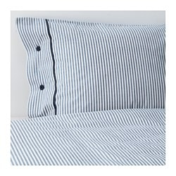 NYPONROS quilt cover and 2 pillowcases, white/blue