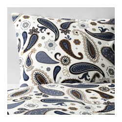 SÖTBLOMSTER quilt cover and 2 pillowcases, blue, white Thread count: 144 /inch² Pillowcase quantity: 2 pieces Quilt cover length: 200 cm