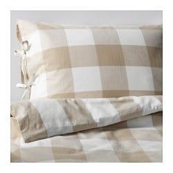 EMMIE RUTA quilt cover and 2 pillowcases, white, beige Pillowcase quantity: 2 pack Quilt cover length: 200 cm Quilt cover width: 150 cm