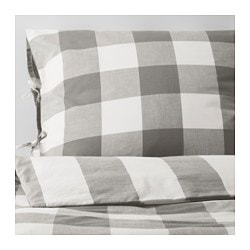 EMMIE RUTA quilt cover and 2 pillowcases, white, grey Thread count: 152 /inch² Pillowcase quantity: 2 pieces Quilt cover length: 200 cm