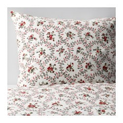 HÅLLROT quilt cover and 2 pillowcases, floral patterned, white Pillowcase quantity: 2 pack Quilt cover length: 200 cm Quilt cover width: 150 cm