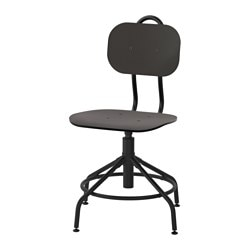 "KULLABERG swivel chair, black Tested for: 243 lb Width: 22 7/8 "" Depth: 22 7/8 "" Tested for: 110 kg Width: 58 cm Depth: 58 cm"