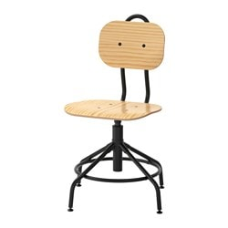 KULLABERG swivel chair, pine, black Tested for: 110 kg Width: 58 cm Depth: 58 cm