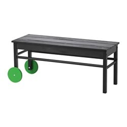 ANVÄNDBAR bench for waste sorting, black Width: 95 cm Depth: 34 cm Height: 40 cm