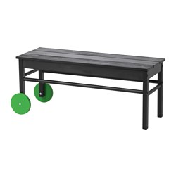 ANVÄNDBAR bench for waste sorting, black Width: 95 cm Depth: 34 cm Height: 59 cm