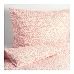 "TRÄDASTER duvet cover and pillowcase(s), orange Thread count: 120 /inch² Pillowcase quantity: 2 pack Duvet cover length: 86 "" Thread count: 120 /inch² Pillowcase quantity: 2 pack Duvet cover length: 218 cm"
