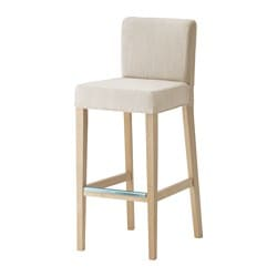HENRIKSDAL bar stool with backrest, birch, Nolhaga light beige Tested for: 110 kg Width: 40 cm Depth: 51 cm