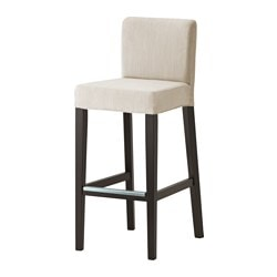HENRIKSDAL bar stool with backrest, brown-black, Nolhaga light beige Tested for: 110 kg Width: 40 cm Depth: 51 cm