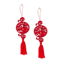 LYCKSALIG hanging decoration, circle, red Diameter: 7.5 cm Height: 22 cm Package quantity: 2 pieces