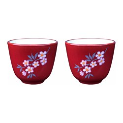 LYCKSALIG mug, white/red Height: 6 cm Volume: 15 cl Package quantity: 2 pack