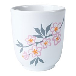 LYCKSALIG mug, white/red Height: 10 cm Volume: 25 cl