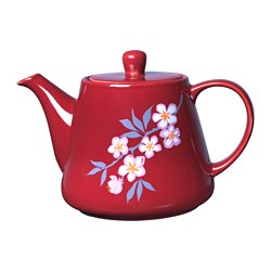 LYCKSALIG teapot, white/red Height: 10.7 cm Volume: 60 cl