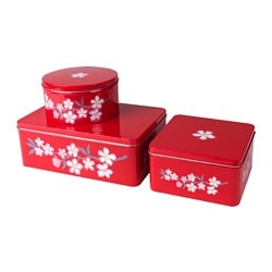 LYCKSALIG tin with lid, set of 3, red