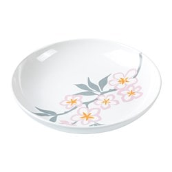 LYCKSALIG deep plate, white/red Diameter: 18 cm