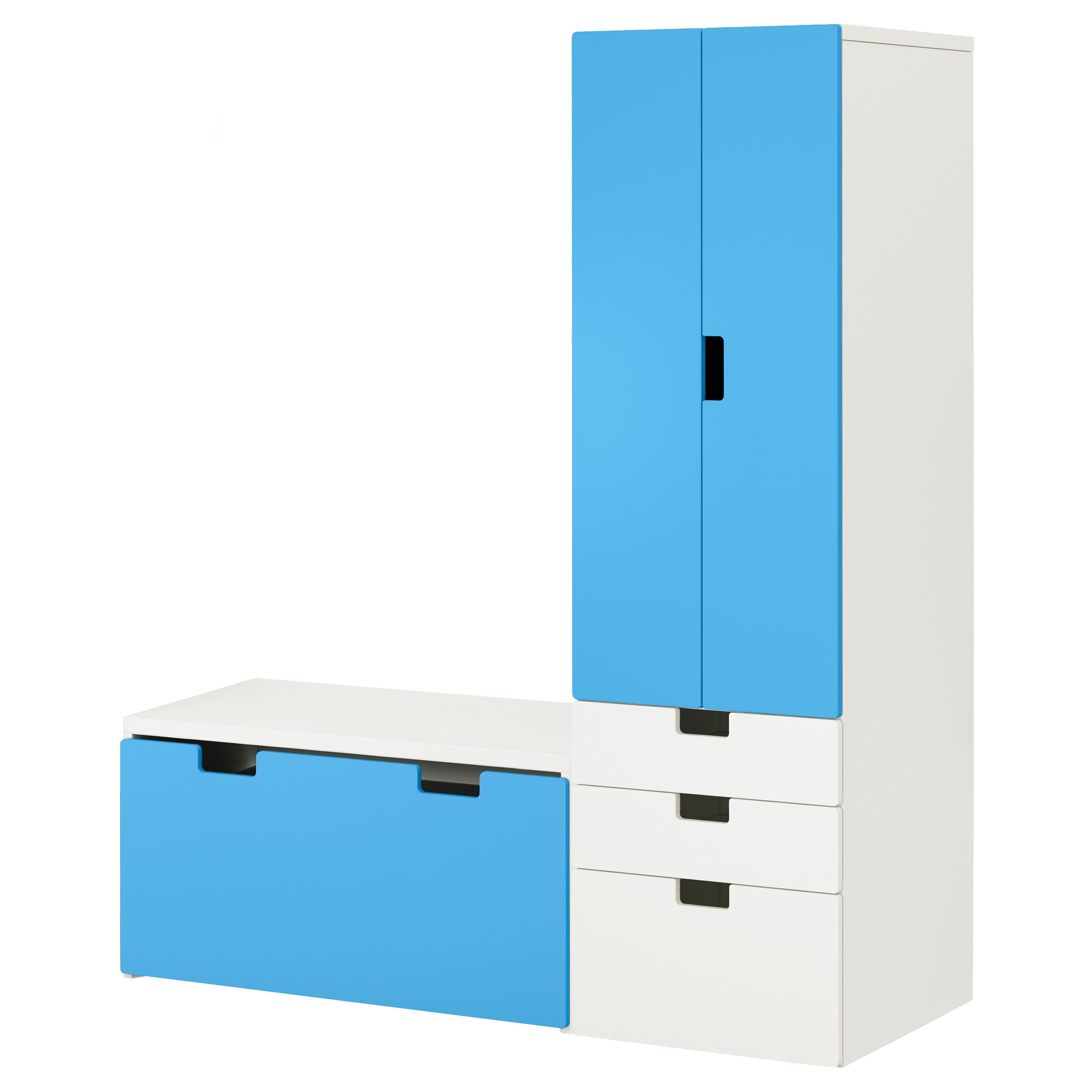 STUVA Storage combination with bench - white/blue - IKEA