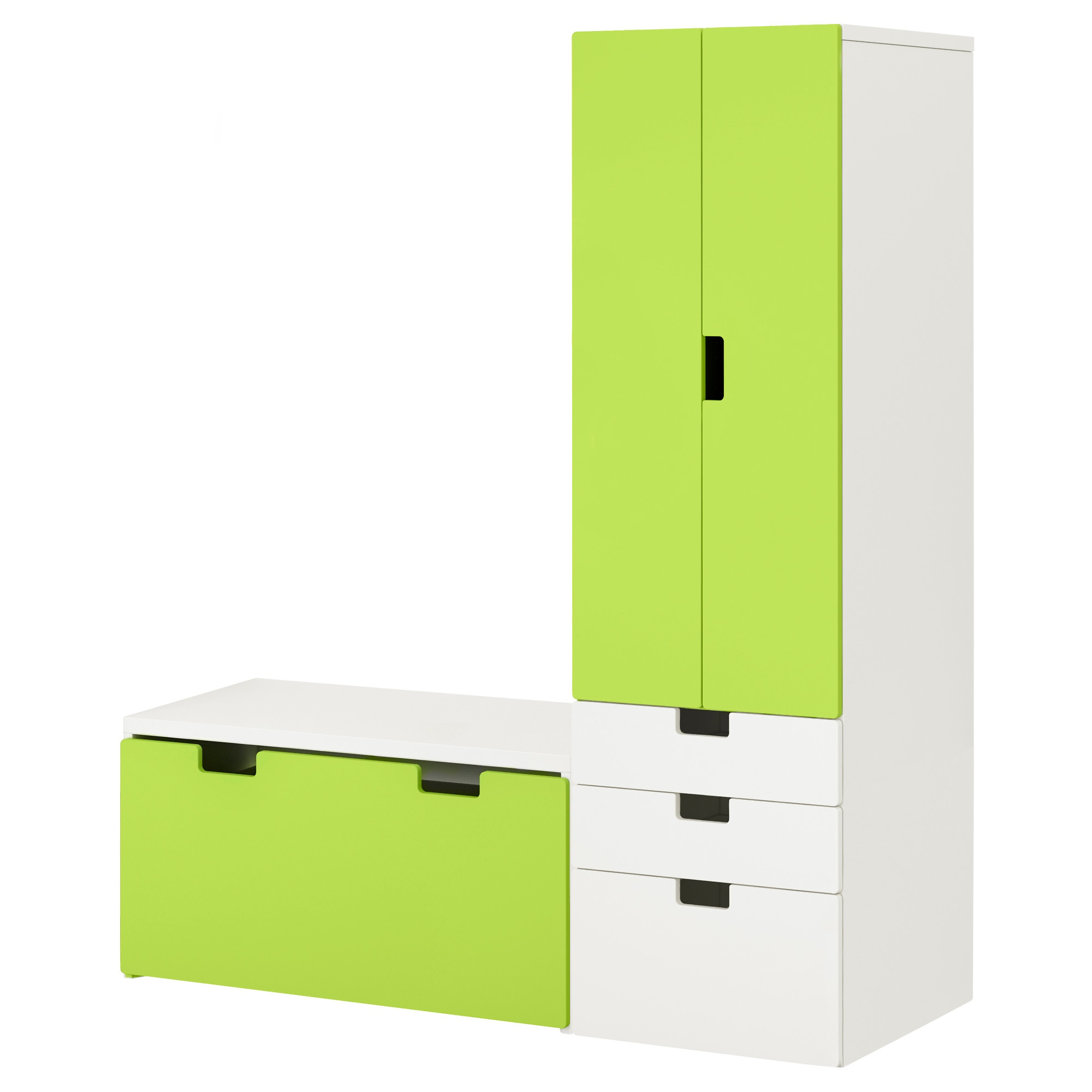STUVA Storage combination with bench - white/white - IKEA
