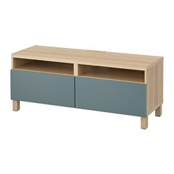 BESTÅ TV bench with drawers, white stained oak effect, Valviken grey-turquoise