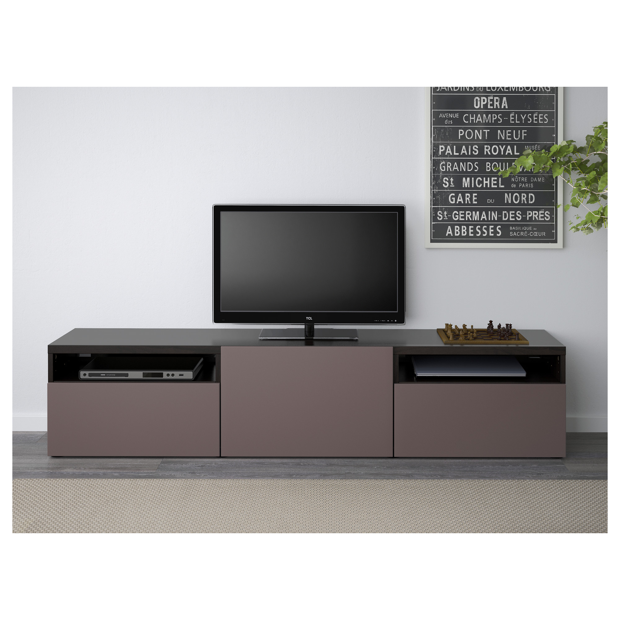 . BEST  TV unit   Lappviken black brown  drawer runner  push open   IKEA