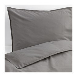 ÄNGSLILJA quilt cover and 4 pillowcases, grey Thread count: 125 /inch² Pillowcase quantity: 4 pack Quilt cover length: 200 cm