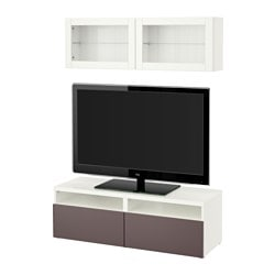 "BESTÅ TV storage combination/glass doors, Valviken dark brown clear glass, white Width: 47 1/4 "" Min. depth: 7 7/8 "" Max. depth: 15 3/4 "" Width: 120 cm Min. depth: 20 cm Max. depth: 40 cm"