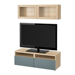 BESTÅ TV storage combination/glass doors, Valviken grey-turquoise clear glass, white stained oak effect Width: 120 cm Min. depth: 20 cm Max. depth: 40 cm