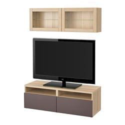 BESTÅ TV storage combination/glass doors, white stained oak effect, Valviken dark brown clear glass Width: 120 cm Min. depth: 20 cm Max. depth: 40 cm