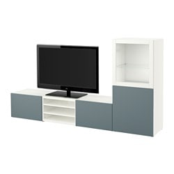 BESTÅ TV storage combination/glass doors, white, Valviken grey-turquoise clear glass