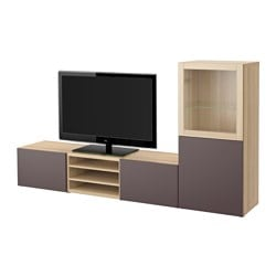 BESTÅ TV storage combination/glass doors, Valviken dark brown clear glass, white stained oak effect Width: 240 cm Depth: 40 cm Height: 128 cm
