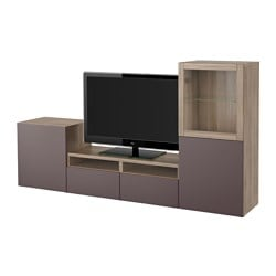 "BESTÅ TV storage combination/glass doors, Valviken dark brown clear glass, walnut effect light gray Width: 94 1/2 "" Depth: 15 3/4 "" Height: 50 3/8 "" Width: 240 cm Depth: 40 cm Height: 128 cm"