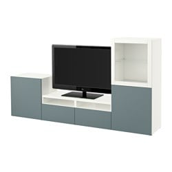 "BESTÅ TV storage combination/glass doors, Valviken gray-turquoise clear glass, white Width: 94 1/2 "" Depth: 15 3/4 "" Height: 50 3/8 "" Width: 240 cm Depth: 40 cm Height: 128 cm"