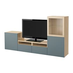 BESTÅ TV storage combination/glass doors, Valviken grey-turquoise clear glass, white stained oak effect Width: 240 cm Depth: 40 cm Height: 128 cm