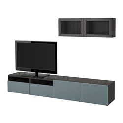 BESTÅ TV storage combination/glass doors, black-brown, Valviken grey-turquoise clear glass